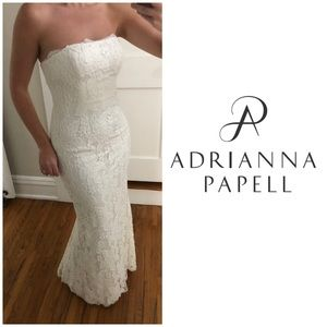 ✨Adrianna Papell Long Lace Dress, white, sz 4